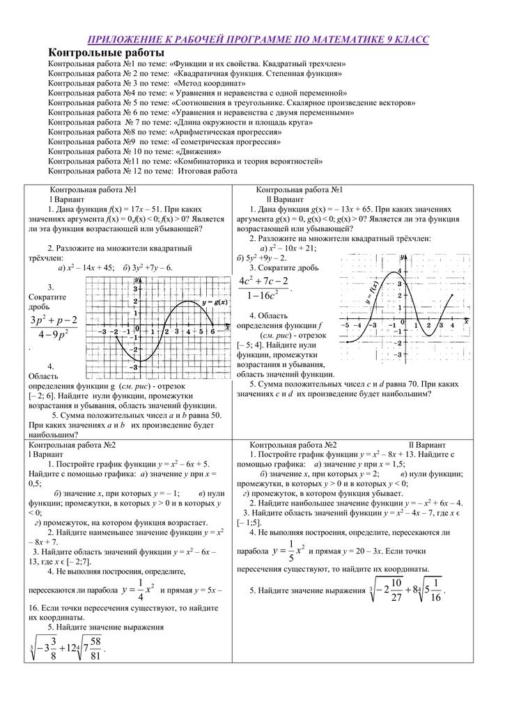 контрольная работа по алгебре 9 класс квадратичная функция