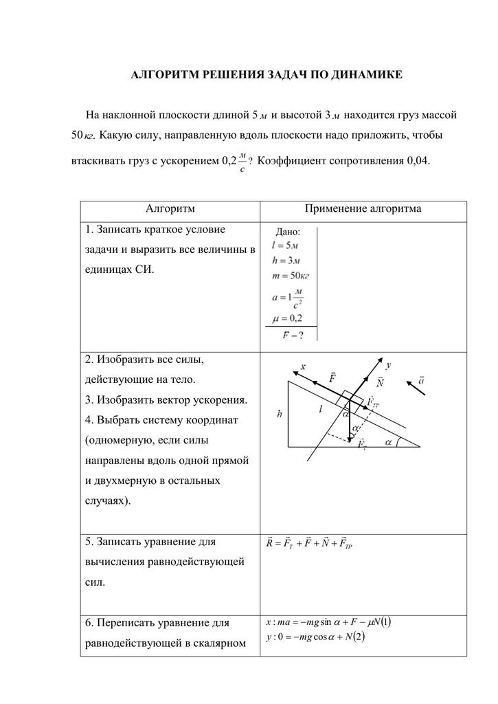 Задачи на наклонную плоскость с решениями физика задачи по общей химии с решениями глинка