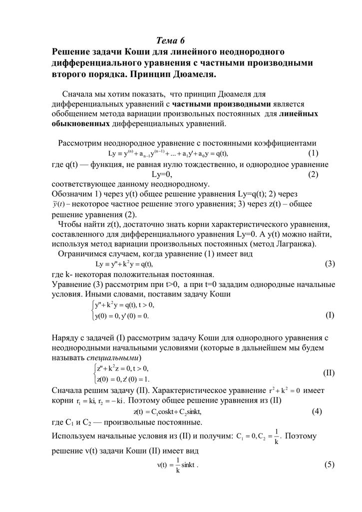 Задача коши общее решение математические и информационные модели решения задачи