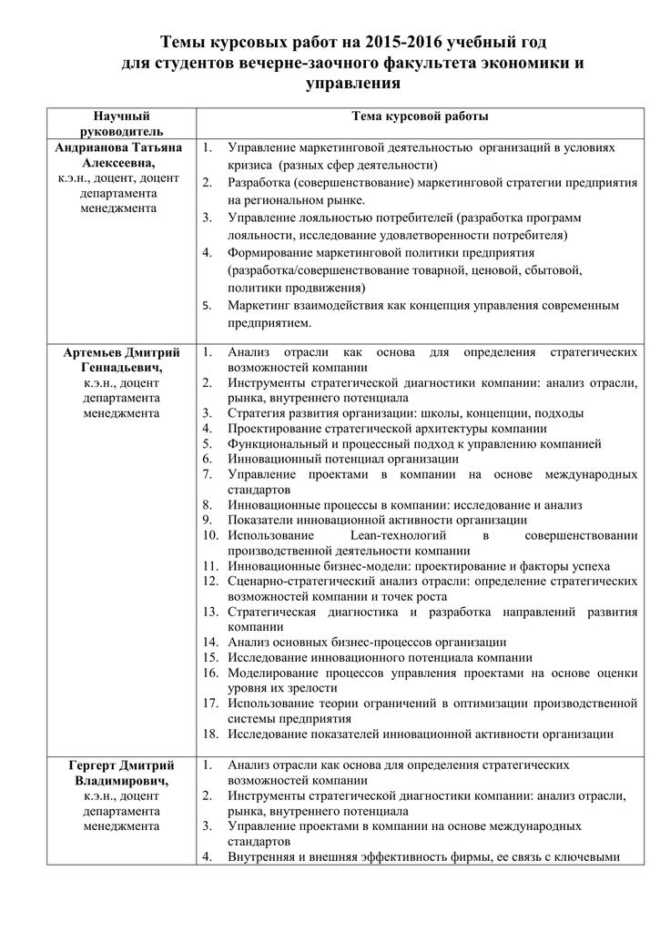 Тематика курсовых работ инновационный менеджмент 8632