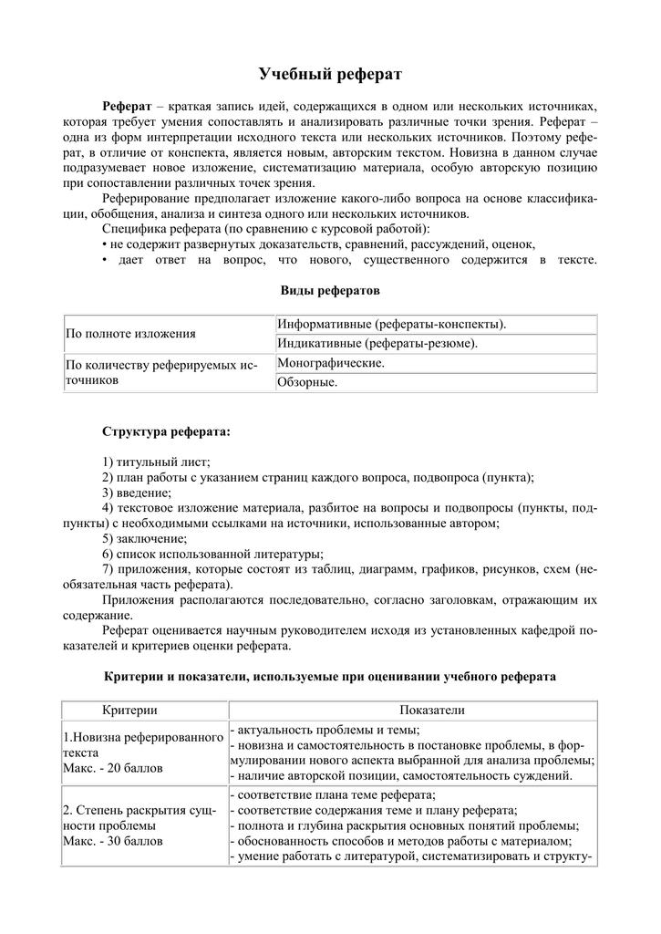 Критерии оценки реферата в баллах 3715