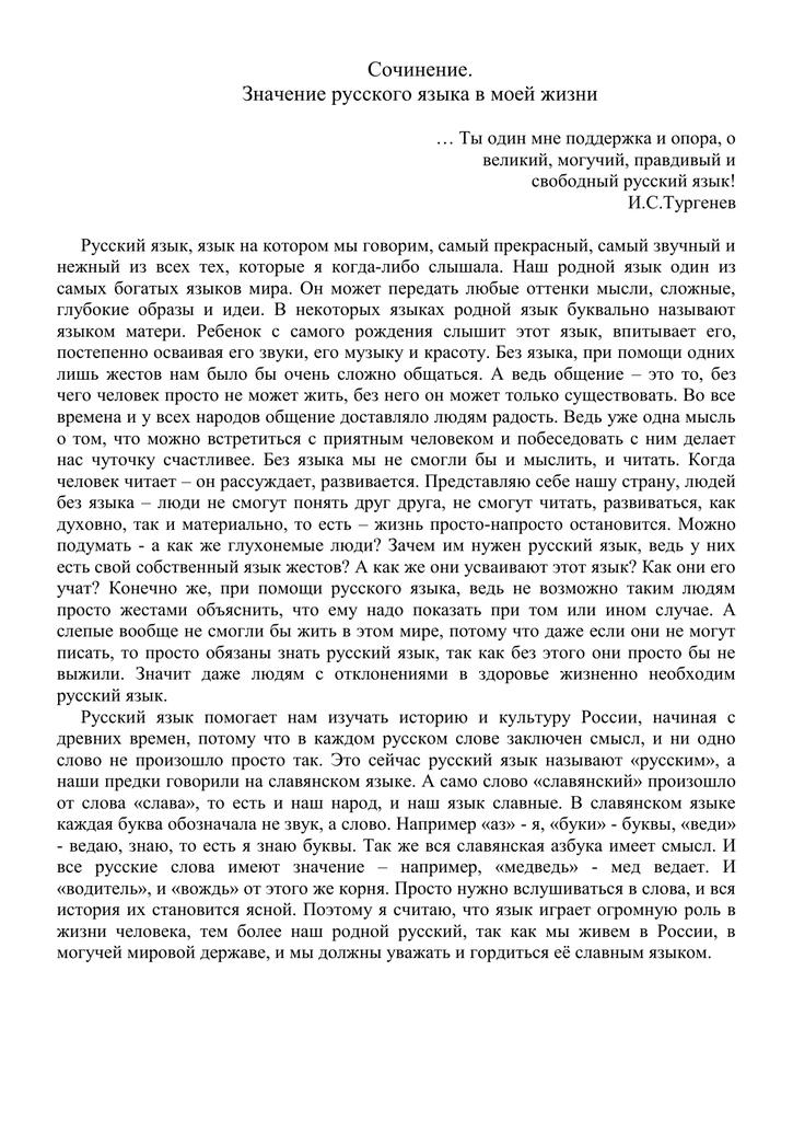 Родной язык в моей жизни эссе 6845