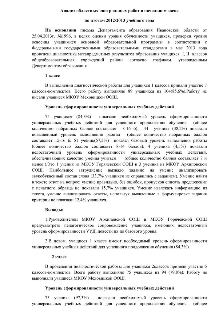 Анализ диагностической контрольной работы 9768