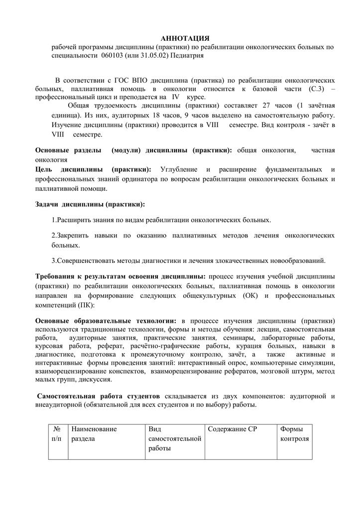 Реабилитация онкологических больных реферат 9897