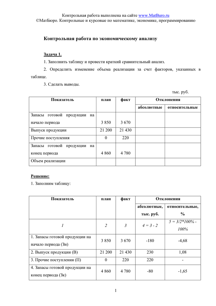 Экономический анализ готовая контрольная работа 3787