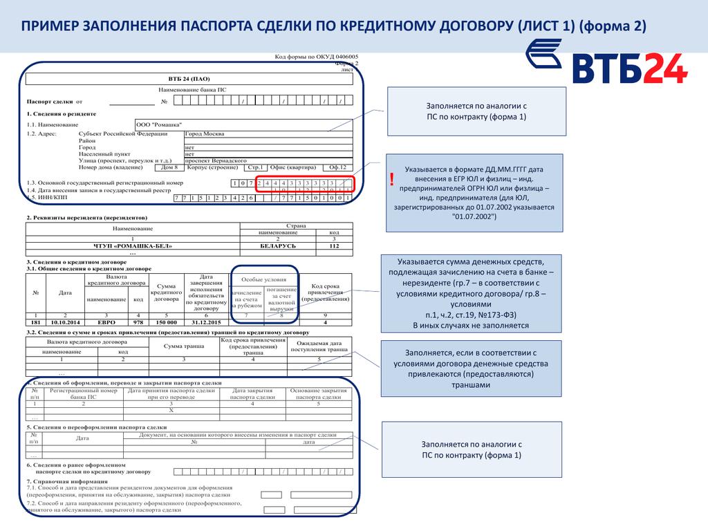 Заявление о переоформлении паспорта сделки заполнение раздел 3 5