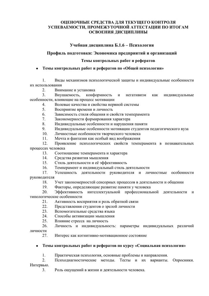 Темы для контрольных работ по социальной психологии 2025