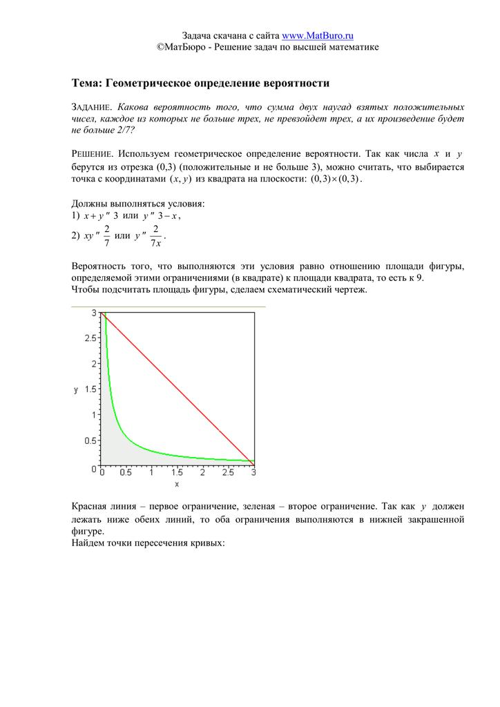 Решение задач на геометрическое определение вероятности решение задач по интеллектуальной собственности