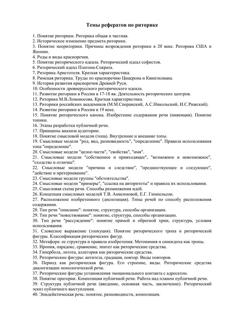 Темы эссе по педагогической риторике 4280