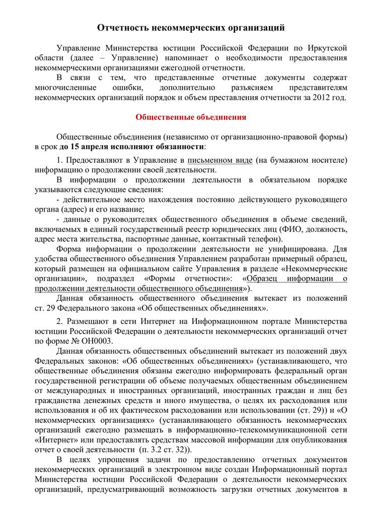формы документов содержащих отчет о деятельности некоммерческой организации