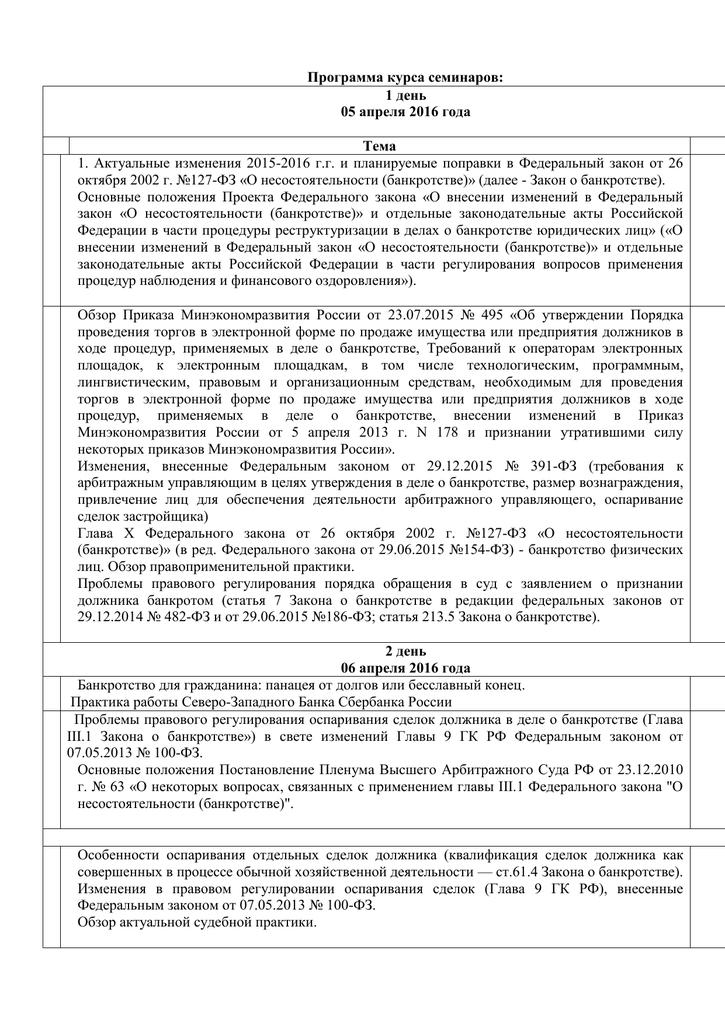 изменения в законе о банкротстве 2002 г