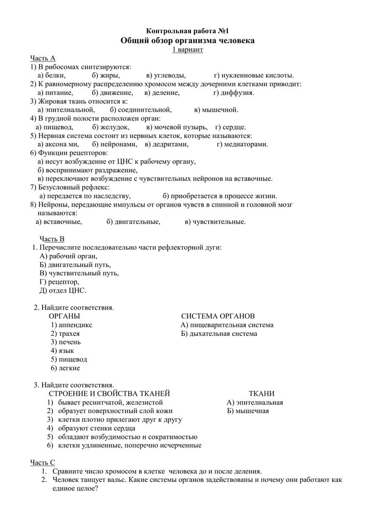 Контрольная работа по теме общий обзор организма 8349
