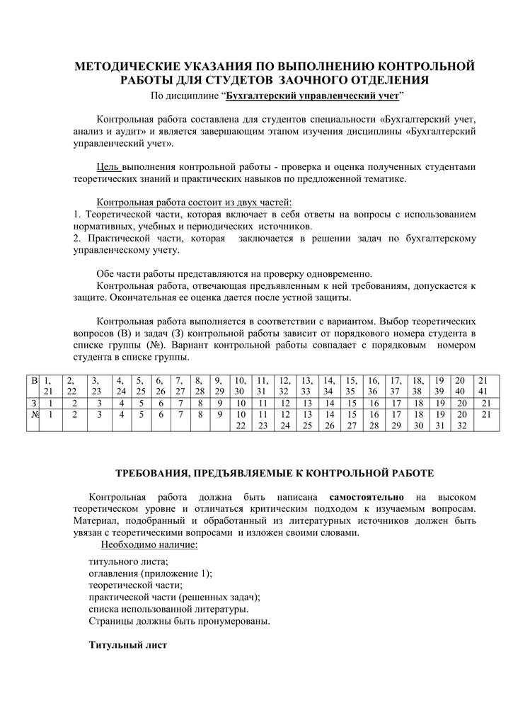 Бухгалтерский учет и анализ контрольная работа вариант 2 1401