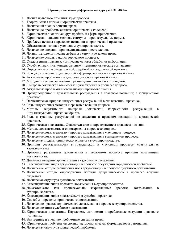 Темы для реферата по логике 2120