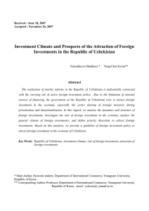II. Dynamics and structure of foreign investments in Uzbekistan