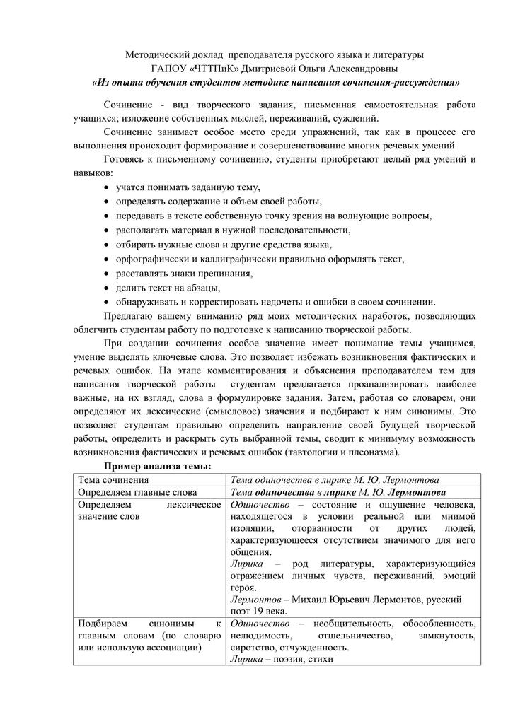 Темы методических докладов по русскому языку и литературе 6477