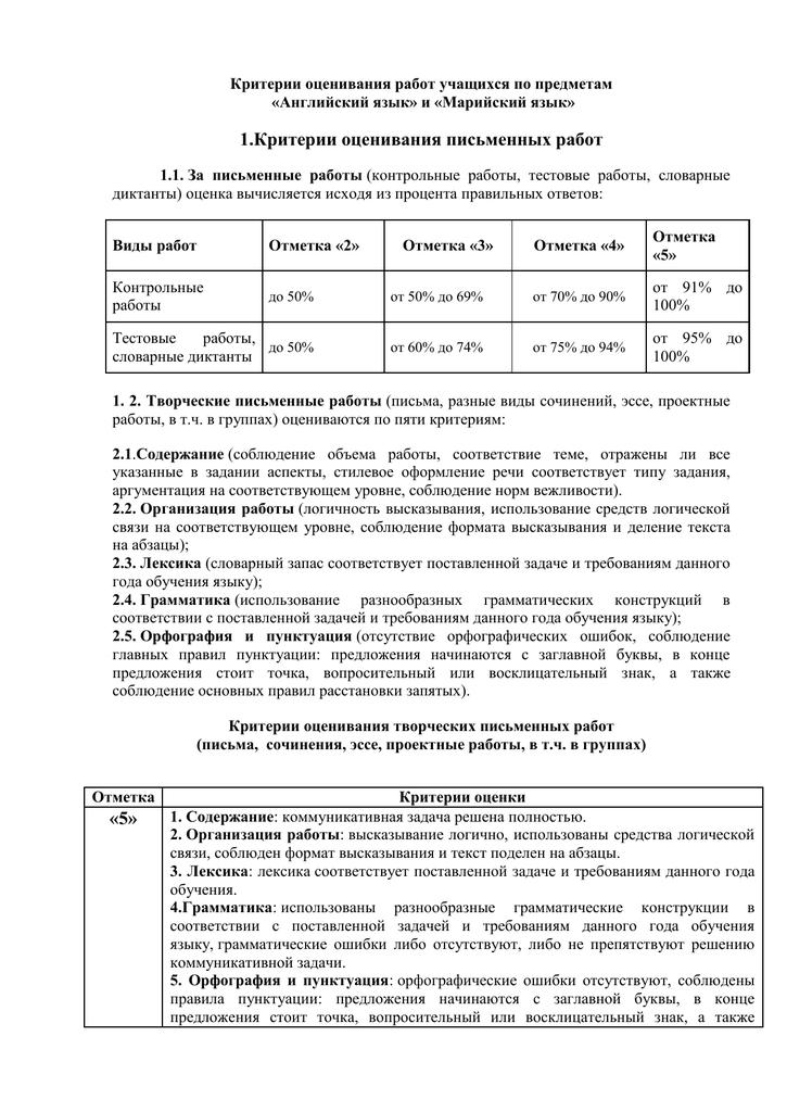 Критерии оценивания по английскому языку контрольных работ 5384