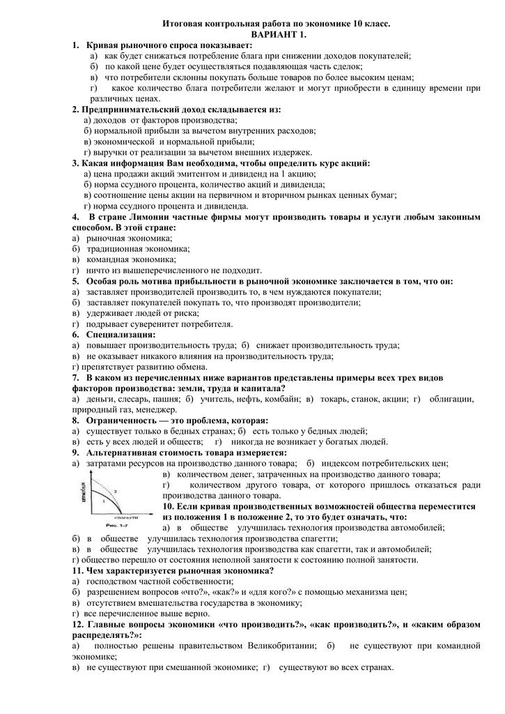 Контрольные работы по микроэкономике 1 курс 4170