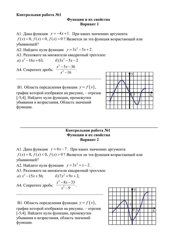 Контрольная работа 1 свойства функций 4241