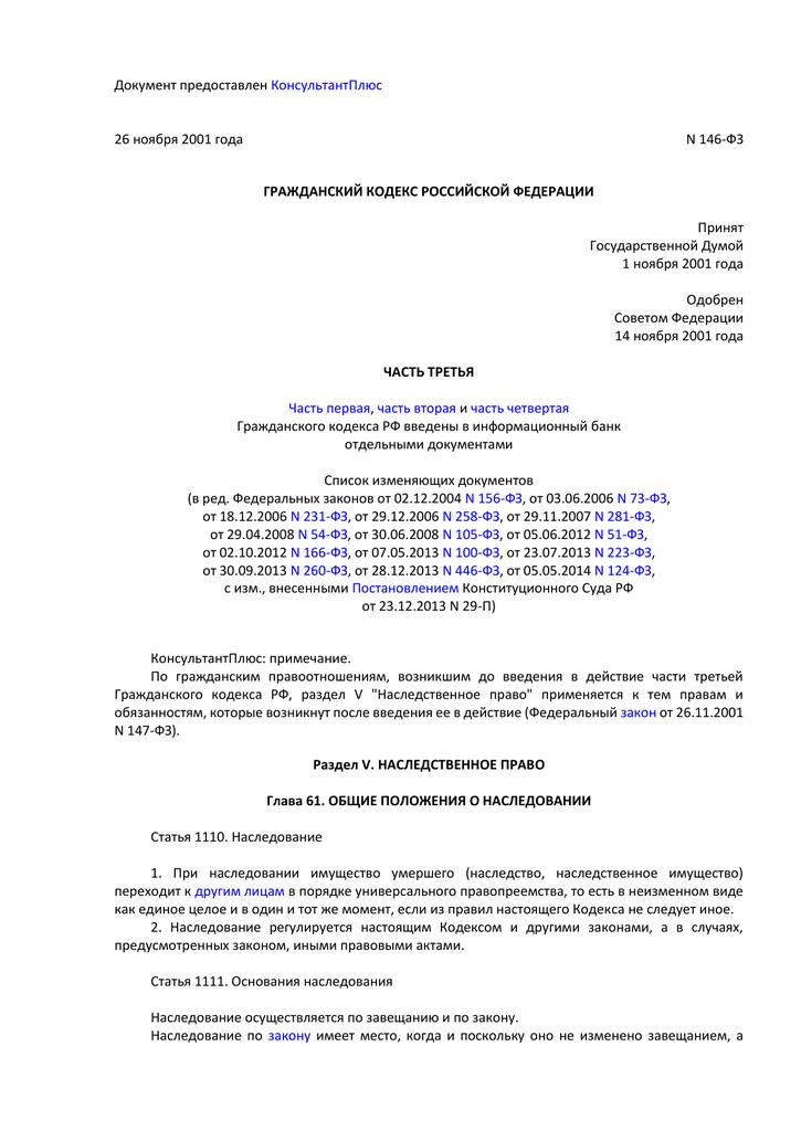 гражданский кодекс наследование