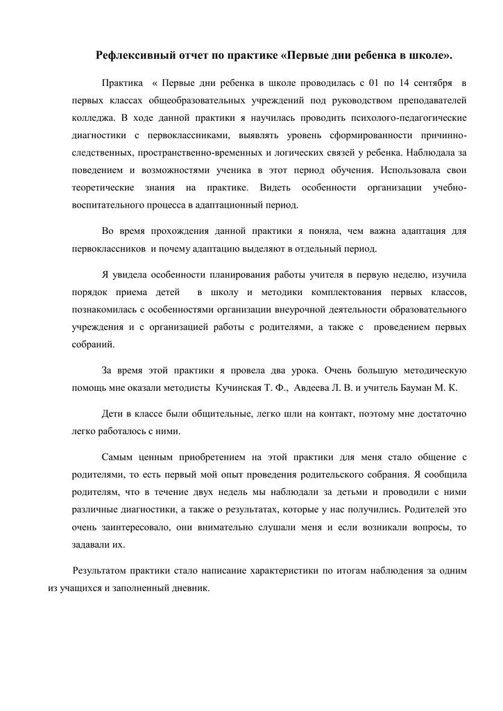 Рефлексивный отчет по практике 1316