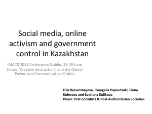 Social media, online activism and government control in Kazakhstan