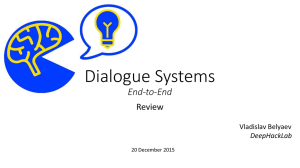 Presentation 20 Dec 2015 Dialogue systems