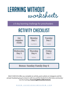 LearningWithoutWorksheets2018 Daily Activity Checklist