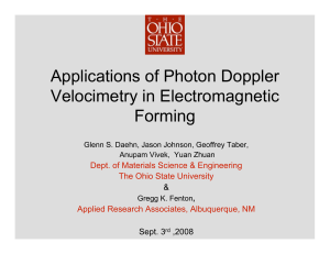 Applications of Photon Doppler Velocimetry in Electromagnetic Forming