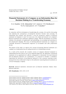 Financial Statements of a Company as an Information Base for Decision-Making in a Transforming Economy