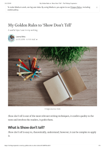 My Golden Rules to 'Show Don't Tell' - The Writing Cooperative