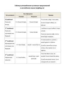 Table of Conditionals
