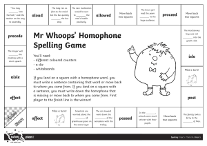 Mr. Whoops Homophone Spelling Game