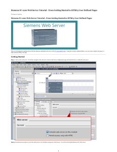 Siemens S7-1200 Web Server Tutorial - From Getting Started to HTML5 User Defined Pages
